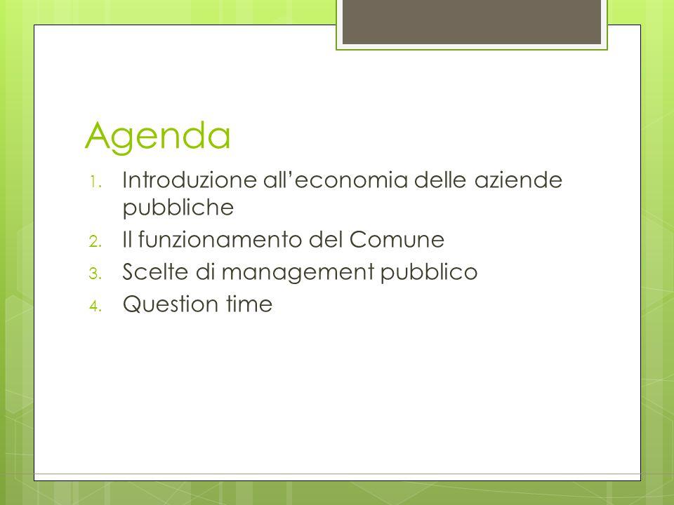 Agenda 1. Introduzione all'economia delle aziende pubbliche 2. Il funzionamento del Comune 3. Scelte di management pubblico 4. Question time