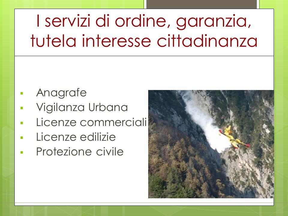 I servizi di ordine, garanzia, tutela interesse cittadinanza  Anagrafe  Vigilanza Urbana  Licenze commerciali  Licenze edilizie  Protezione civil
