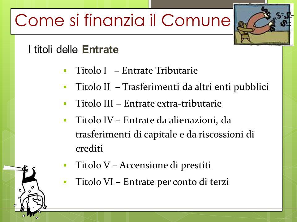Come si finanzia il Comune I titoli delle Entrate  Titolo I – Entrate Tributarie  Titolo II – Trasferimenti da altri enti pubblici  Titolo III – En