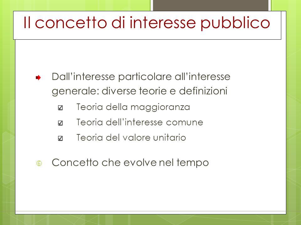 Il concetto di interesse pubblico Dall'interesse particolare all'interesse generale: diverse teorie e definizioni Teoria della maggioranza Teoria dell