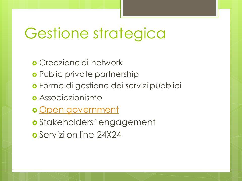 Gestione strategica  Creazione di network  Public private partnership  Forme di gestione dei servizi pubblici  Associazionismo  Open government O
