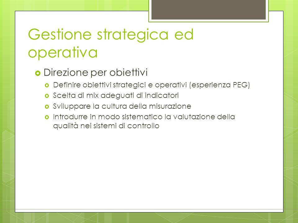 Gestione strategica ed operativa  Direzione per obiettivi  Definire obiettivi strategici e operativi (esperienza PEG)  Scelta di mix adeguati di in