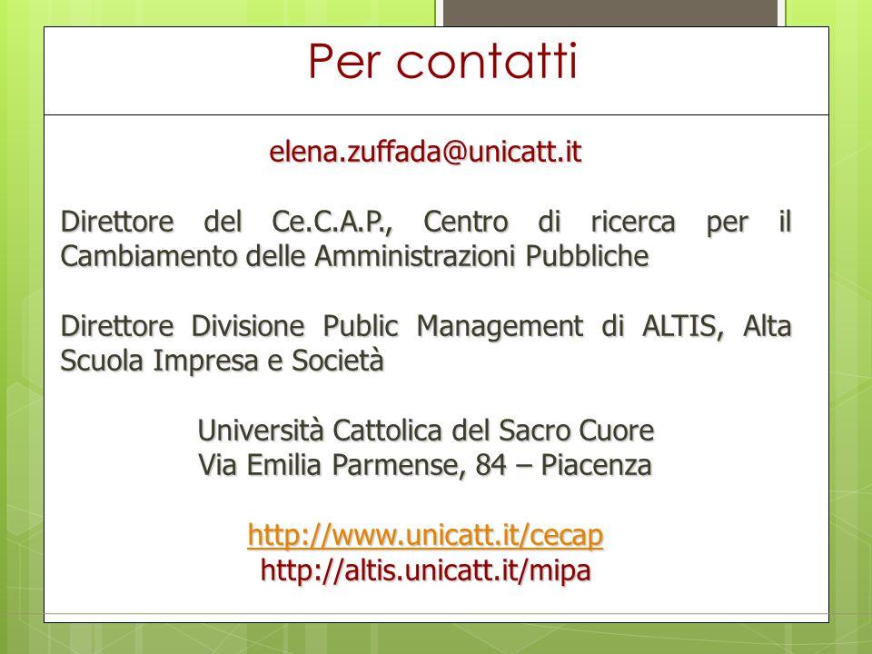 Per contatti elena.zuffada@unicatt.it Direttore del Ce.C.A.P., Centro di ricerca per il Cambiamento delle Amministrazioni Pubbliche Direttore Division