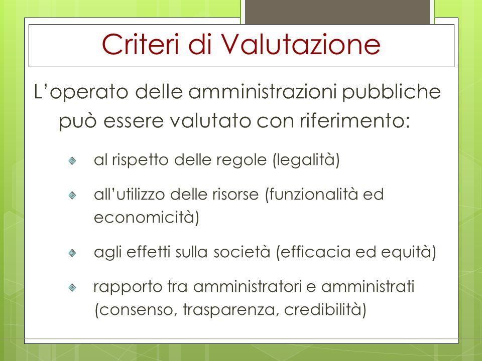 Criteri di Valutazione L'operato delle amministrazioni pubbliche può essere valutato con riferimento: al rispetto delle regole (legalità) all'utilizzo