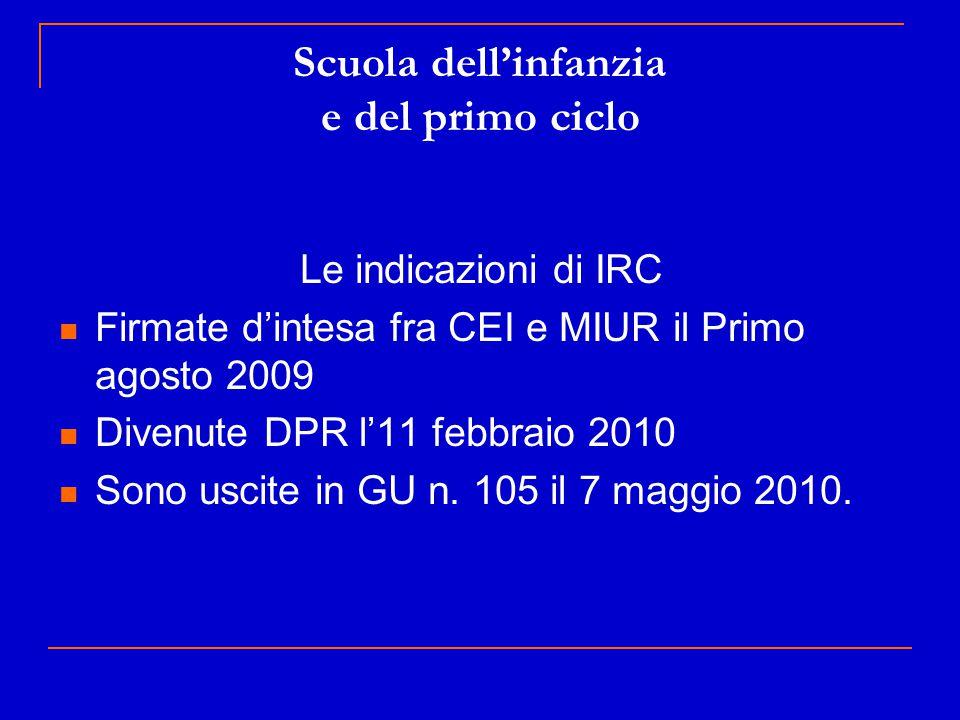 Scuola dell'infanzia e del primo ciclo Le indicazioni di IRC Firmate d'intesa fra CEI e MIUR il Primo agosto 2009 Divenute DPR l'11 febbraio 2010 Sono