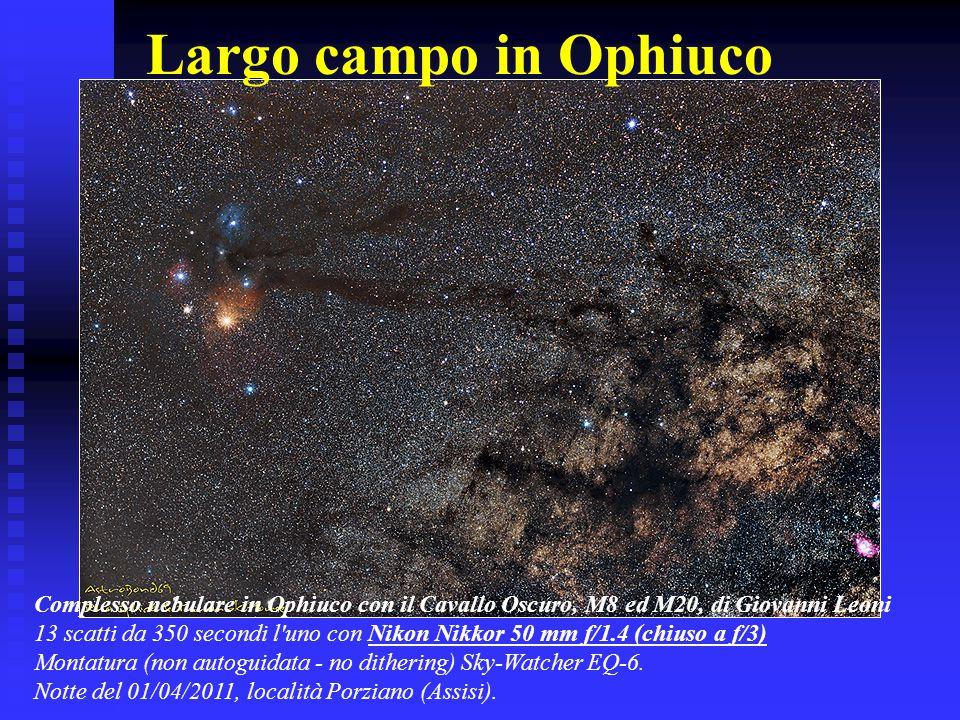 Largo campo in Ophiuco Complesso nebulare in Ophiuco con il Cavallo Oscuro, M8 ed M20, di Giovanni Leoni 13 scatti da 350 secondi l'uno con Nikon Nikk