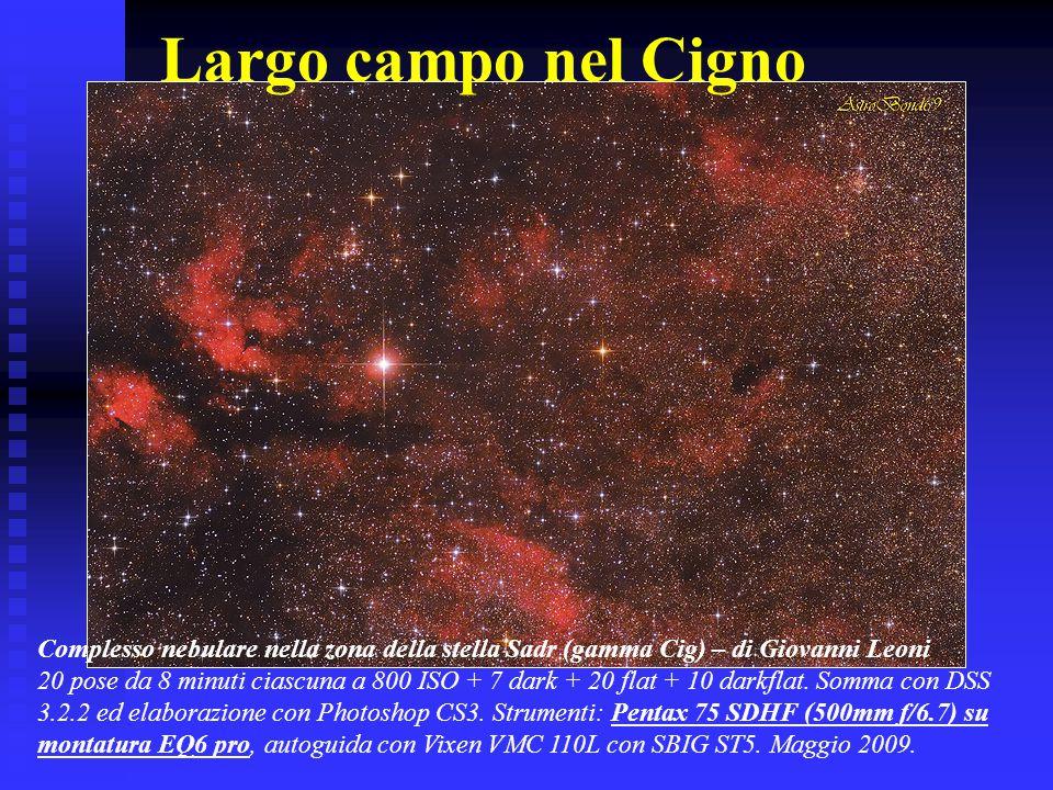 Largo campo nel Cigno Complesso nebulare nella zona della stella Sadr (gamma Cig) – di Giovanni Leoni 20 pose da 8 minuti ciascuna a 800 ISO + 7 dark