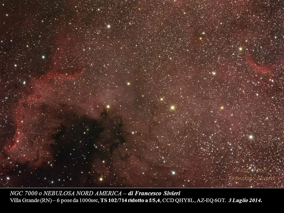 NGC 7000 o NEBULOSA NORD AMERICA – di Francesco Sivieri Villa Grande (RN) – 6 pose da 1000sec, TS 102/714 ridotto a f/5,4, CCD QHY8L, AZ-EQ 6GT. 3 Lug