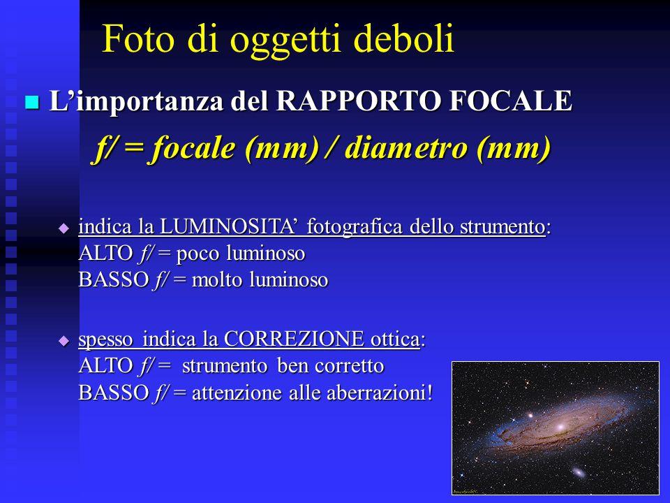 Foto di oggetti deboli L'importanza del RAPPORTO FOCALE L'importanza del RAPPORTO FOCALE f/ = focale (mm) / diametro (mm)  indica la LUMINOSITA' foto