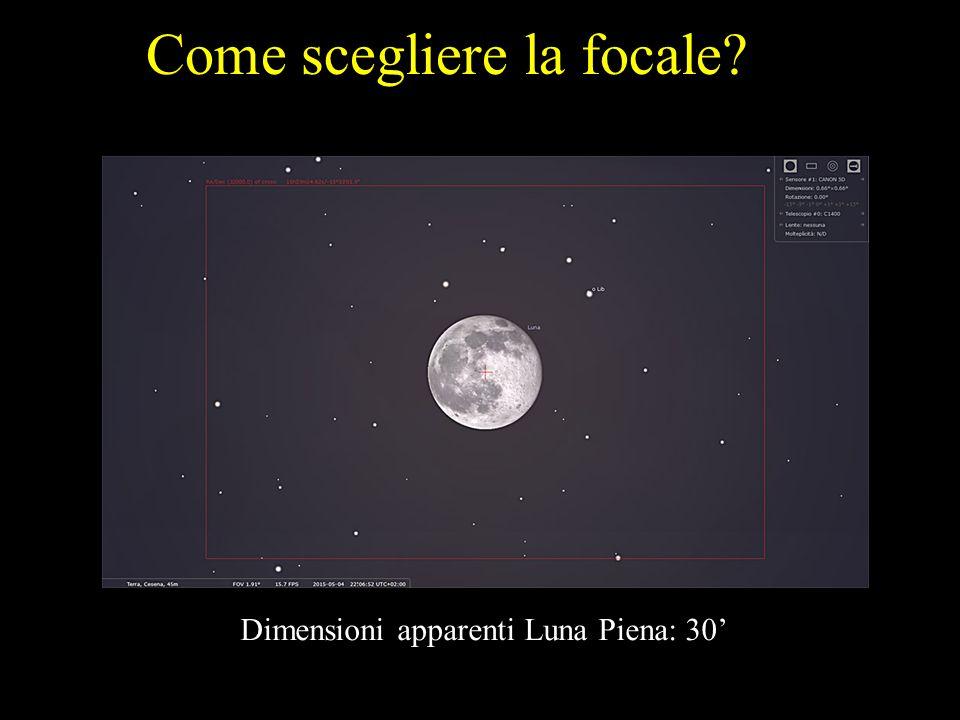 Come scegliere la focale? Dimensioni apparenti Luna Piena: 30'