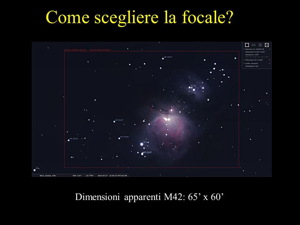 Come scegliere la focale? Dimensioni apparenti M42: 65' x 60'
