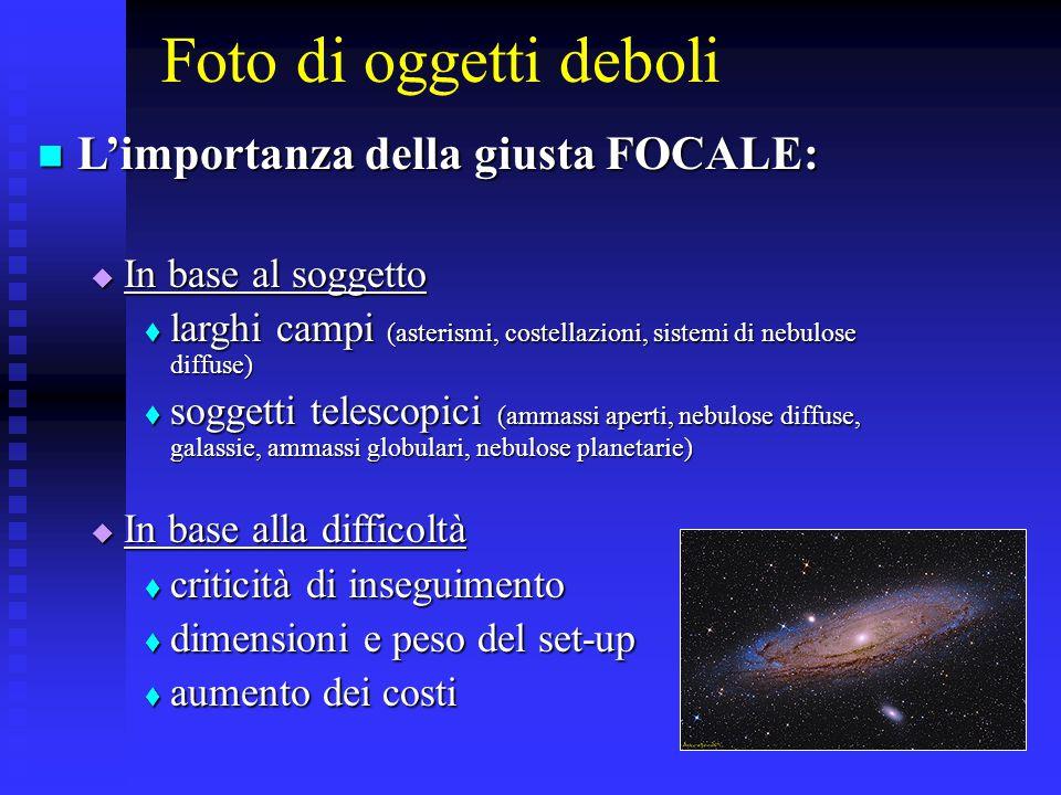 Foto di oggetti deboli L'importanza della giusta FOCALE: L'importanza della giusta FOCALE:  In base al soggetto  larghi campi (asterismi, costellazi