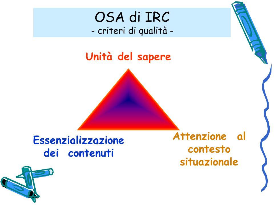 Unità del sapere Essenzializzazione dei contenuti Attenzione al contesto situazionale OSA di IRC - criteri di qualità -