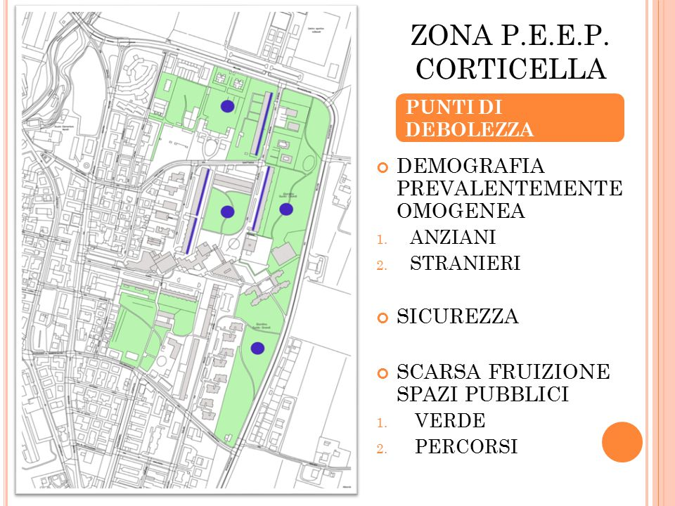 ZONA P.E.E.P. CORTICELLA PUNTI DI DEBOLEZZA DEMOGRAFIA PREVALENTEMENTE OMOGENEA 1.