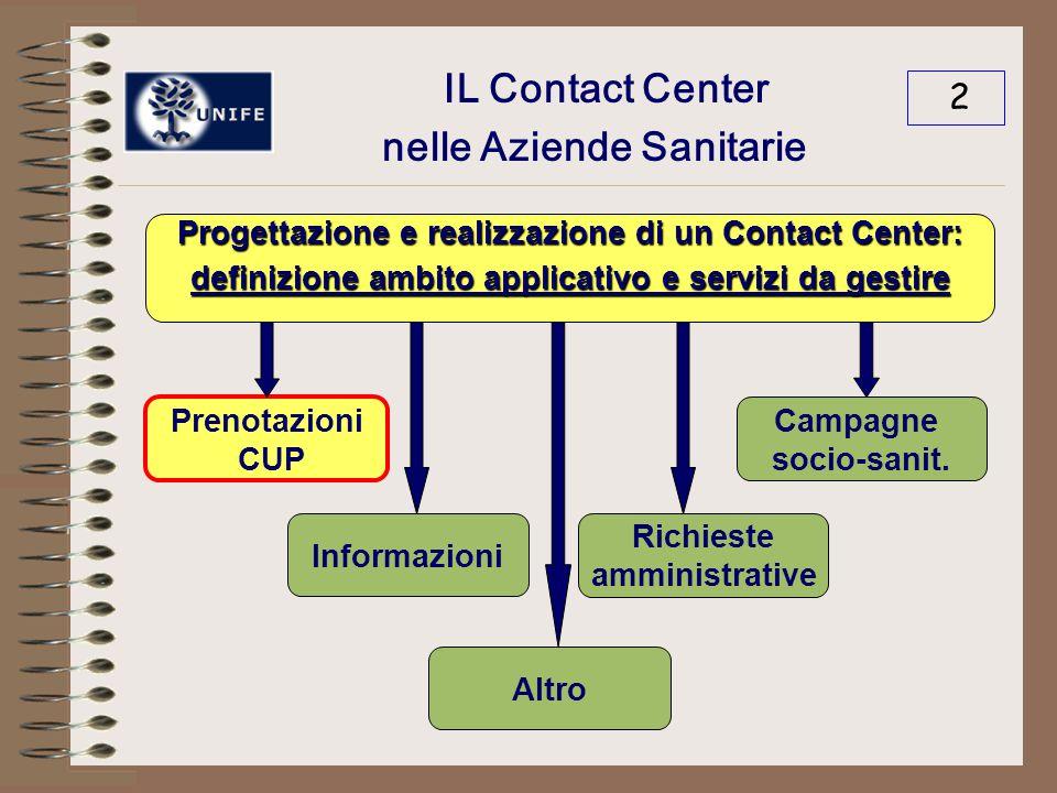 IL Contact Center nelle Aziende Sanitarie 2 Progettazione e realizzazione di un Contact Center: definizione ambito applicativo e servizi da gestire Prenotazioni CUP Informazioni Richieste amministrative Campagne socio-sanit.