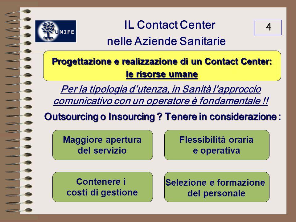 IL Contact Center nelle Aziende Sanitarie 4 Per la tipologia d'utenza, in Sanità l'approccio comunicativo con un operatore è fondamentale !.