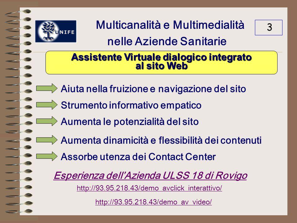 Multicanalità e Multimedialità nelle Aziende Sanitarie 3 Aiuta nella fruizione e navigazione del sito Strumento informativo empatico Aumenta le potenzialità del sito Aumenta dinamicità e flessibilità dei contenuti Assorbe utenza dei Contact Center Esperienza dell'Azienda ULSS 18 di Rovigo http://93.95.218.43/demo_avclick_interattivo/ http://93.95.218.43/demo_av_video/ Assistente Virtuale dialogico integrato al sito Web