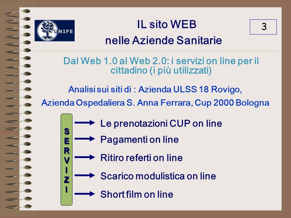 IL sito WEB nelle Aziende Sanitarie Dal Web 1.0 al Web 2.0: i servizi on line per il cittadino (i più utilizzati) 4 Analisi sui siti di : Azienda ULSS 18 Rovigo, Azienda Ospedaliera S.