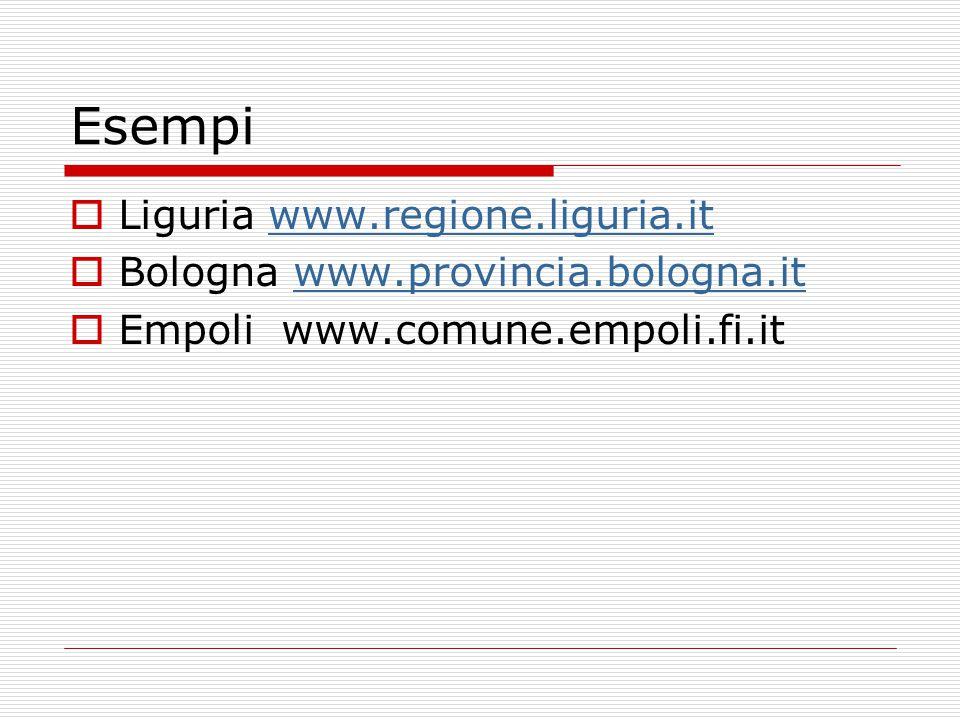 Esempi  Liguria www.regione.liguria.itwww.regione.liguria.it  Bologna www.provincia.bologna.itwww.provincia.bologna.it  Empoli www.comune.empoli.fi.it