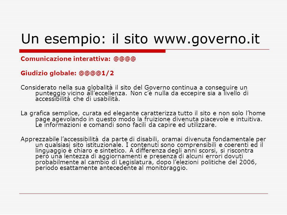 Un esempio: il sito www.governo.it Comunicazione interattiva: @@@@ Giudizio globale: @@@@1/2 Considerato nella sua globalità il sito del Governo continua a conseguire un punteggio vicino all'eccellenza.