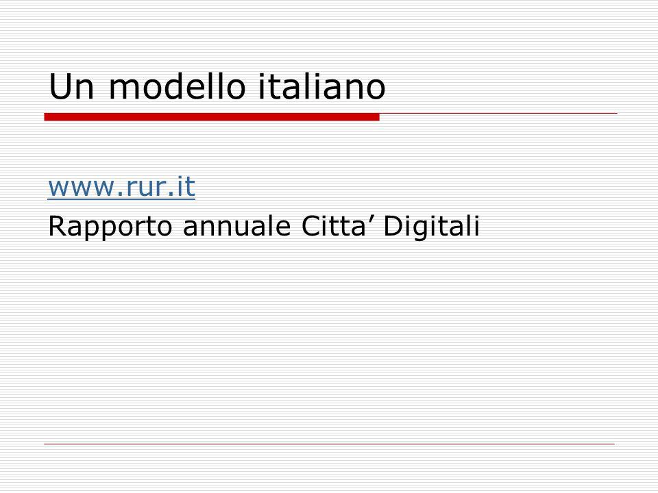Un modello italiano www.rur.it Rapporto annuale Citta' Digitali