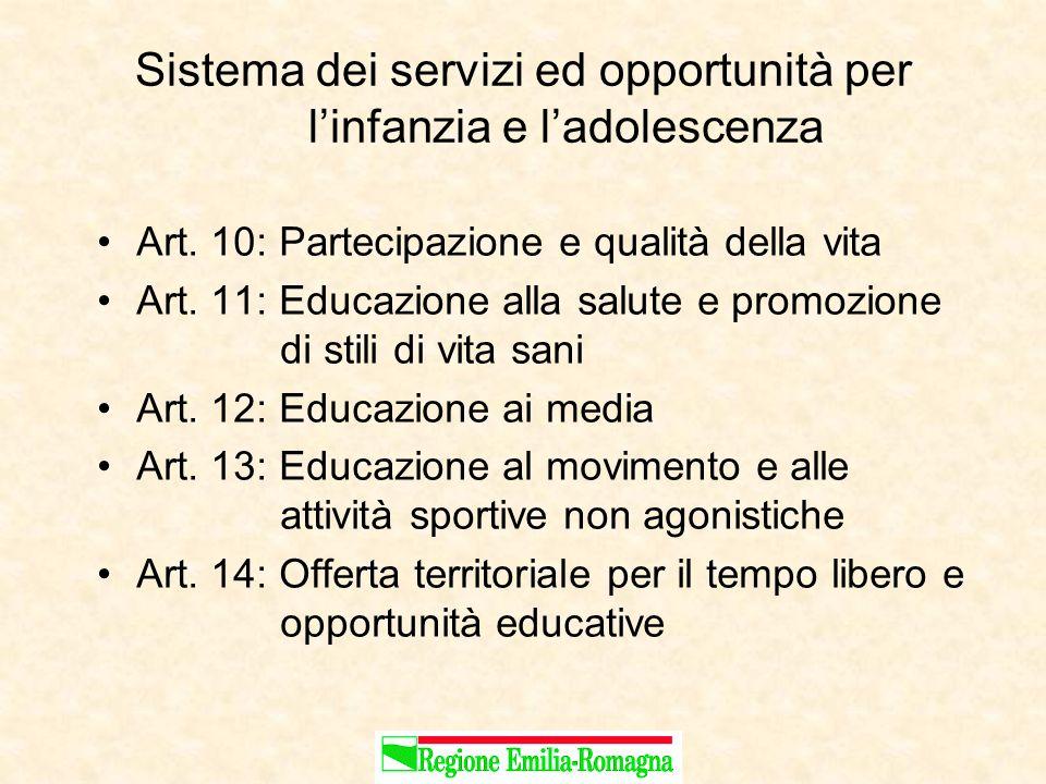 Sistema dei servizi ed opportunità per l'infanzia e l'adolescenza Art.