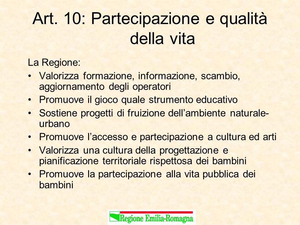 Art. 10: Partecipazione e qualità della vita La Regione: Valorizza formazione, informazione, scambio, aggiornamento degli operatori Promuove il gioco