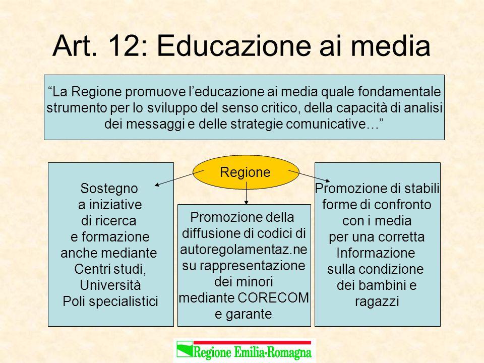 """Art. 12: Educazione ai media """"La Regione promuove l'educazione ai media quale fondamentale strumento per lo sviluppo del senso critico, della capacità"""