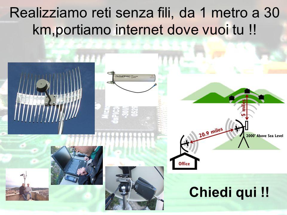 Realizziamo reti senza fili, da 1 metro a 30 km,portiamo internet dove vuoi tu !! Chiedi qui !!.