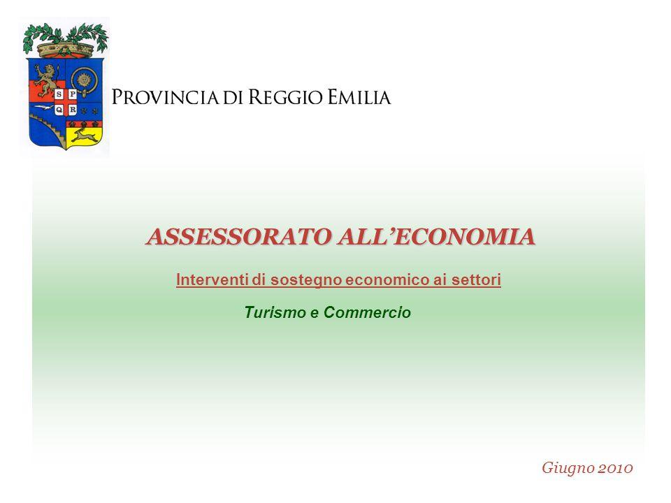 PROVINCIA DI REGGIO EMILIA A S S E S S O R A T O A L L ' E C O N O M I A Giugno 2010 ASSESSORATO ALL'ECONOMIA Interventi di sostegno economico ai settori Turismo e Commercio