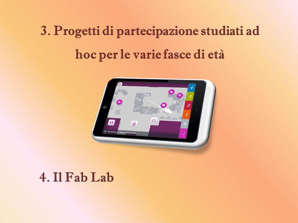 3. Progetti di partecipazione studiati ad hoc per le varie fasce di età 4. Il Fab Lab