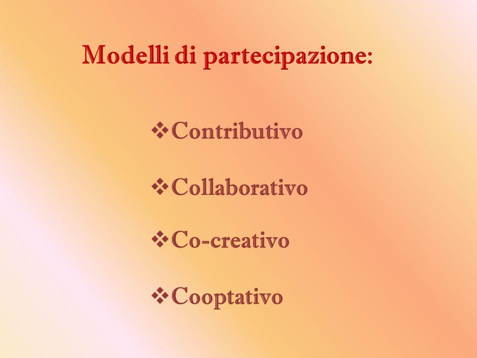 Modelli di partecipazione:  Contributivo  Collaborativo  Co-creativo  Cooptativo