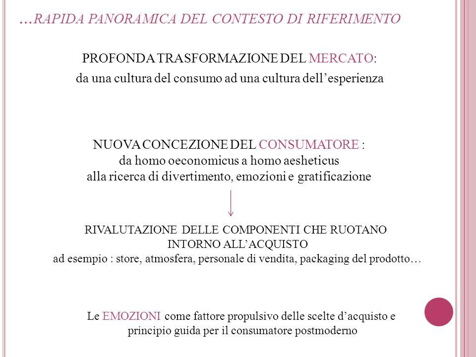 … RAPIDA PANORAMICA DEL CONTESTO DI RIFERIMENTO PROFONDA TRASFORMAZIONE DEL MERCATO: da una cultura del consumo ad una cultura dell'esperienza NUOVA C