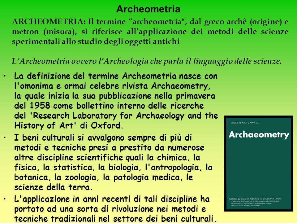 Archeometria La definizione del termine Archeometria nasce con l'omonima e ormai celebre rivista Archaeometry, la quale inizia la sua pubblicazione ne