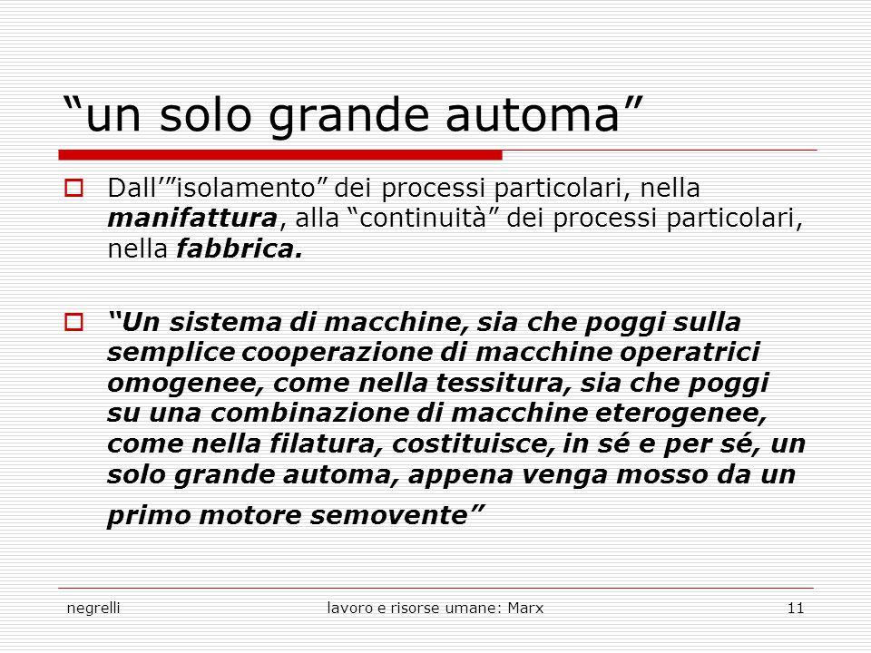 negrellilavoro e risorse umane: Marx11 un solo grande automa  Dall' isolamento dei processi particolari, nella manifattura, alla continuità dei processi particolari, nella fabbrica.