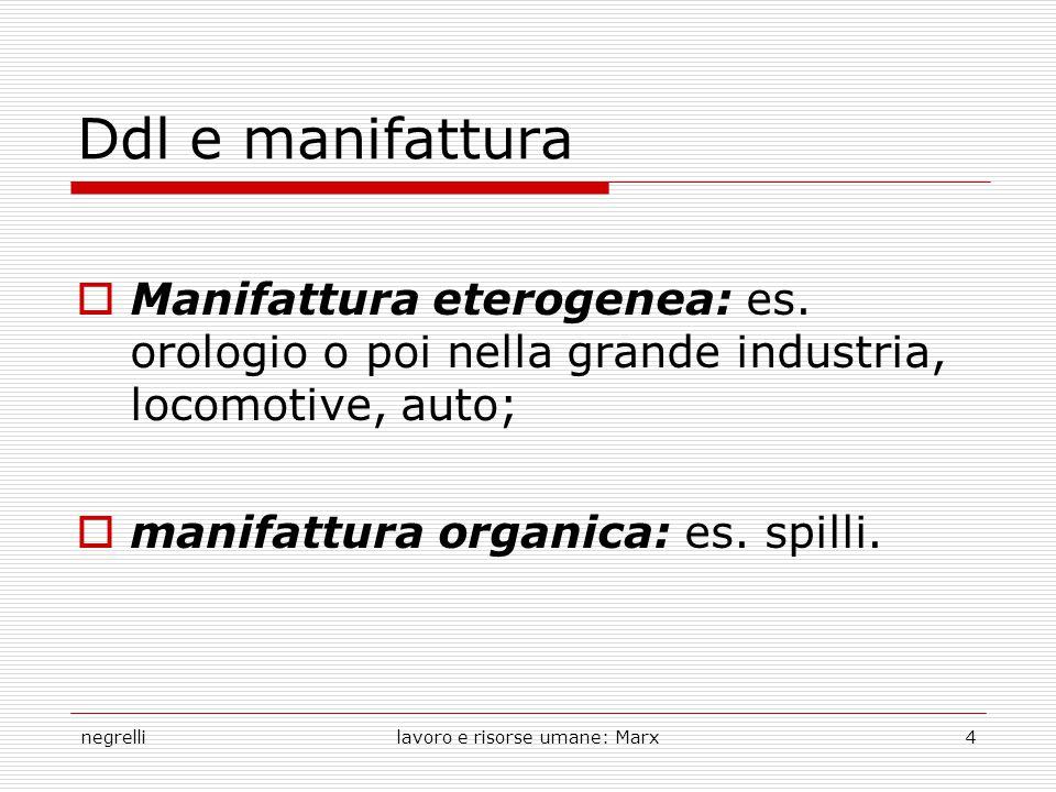 negrellilavoro e risorse umane: Marx4 Ddl e manifattura  Manifattura eterogenea: es. orologio o poi nella grande industria, locomotive, auto;  manif