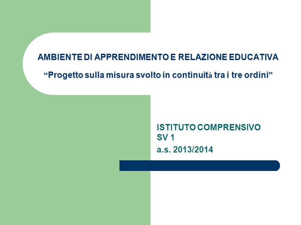 """AMBIENTE DI APPRENDIMENTO E RELAZIONE EDUCATIVA """" Progetto sulla misura svolto in continuit à tra i tre ordini """" ISTITUTO COMPRENSIVO SV 1 a.s. 2013/2"""