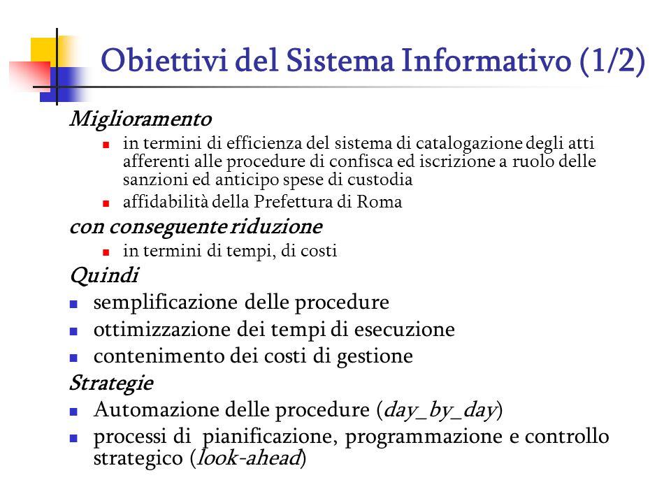 Obiettivi del Sistema Informativo (1/2) Miglioramento in termini di efficienza del sistema di catalogazione degli atti afferenti alle procedure di con