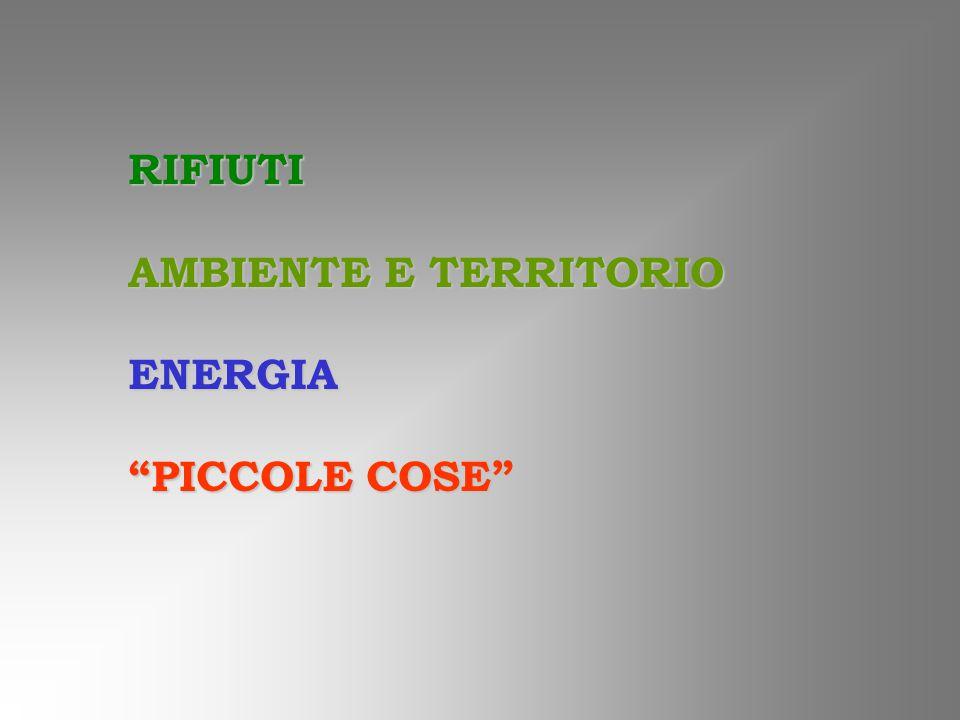 RIFIUTI AMBIENTE E TERRITORIO ENERGIA PICCOLE COSE