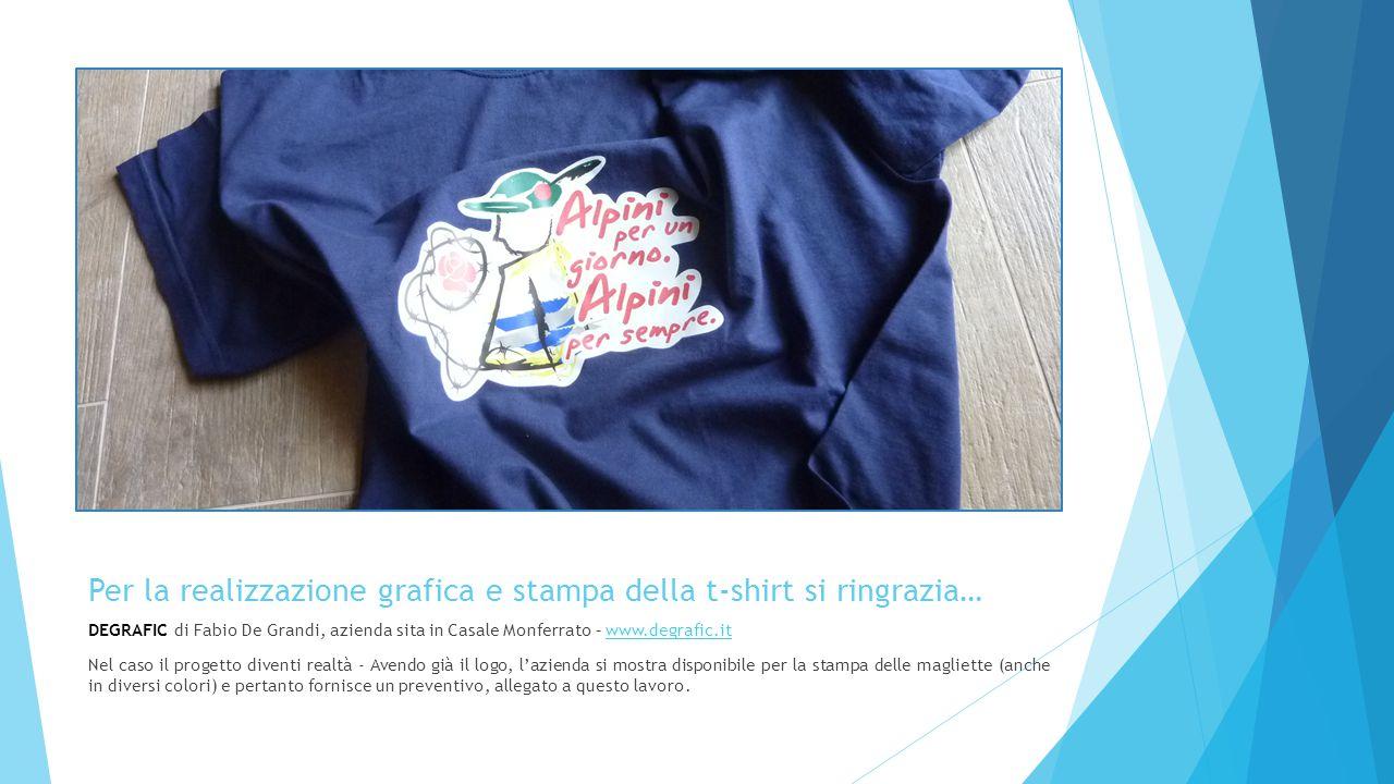 Per la realizzazione grafica e stampa della t-shirt si ringrazia… DEGRAFIC di Fabio De Grandi, azienda sita in Casale Monferrato – www.degrafic.itwww.
