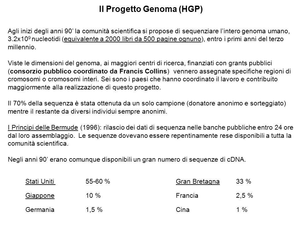 Il Progetto Genoma (HGP) Agli inizi degli anni 90' la comunità scientifica si propose di sequenziare l'intero genoma umano, 3.2x10 9 nucleotidi (equiv