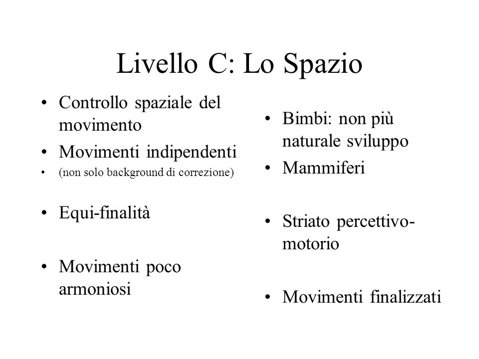 Livello C: Lo Spazio Controllo spaziale del movimento Movimenti indipendenti (non solo background di correzione) Equi-finalità Movimenti poco armonios