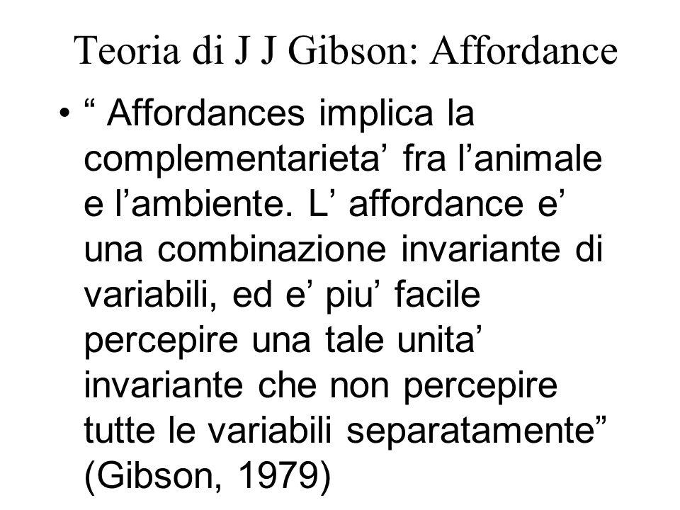 "Teoria di J J Gibson: Affordance "" Affordances implica la complementarieta' fra l'animale e l'ambiente. L' affordance e' una combinazione invariante d"