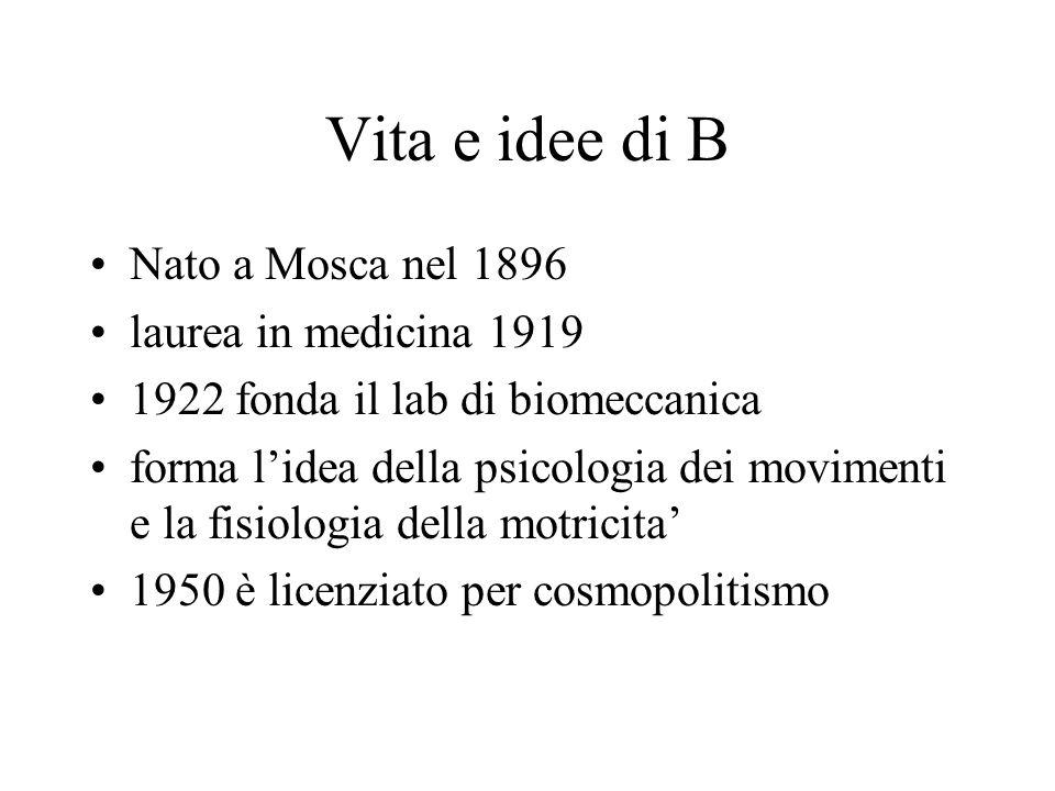 Vita e idee di B Nato a Mosca nel 1896 laurea in medicina 1919 1922 fonda il lab di biomeccanica forma l'idea della psicologia dei movimenti e la fisiologia della motricita' 1950 è licenziato per cosmopolitismo