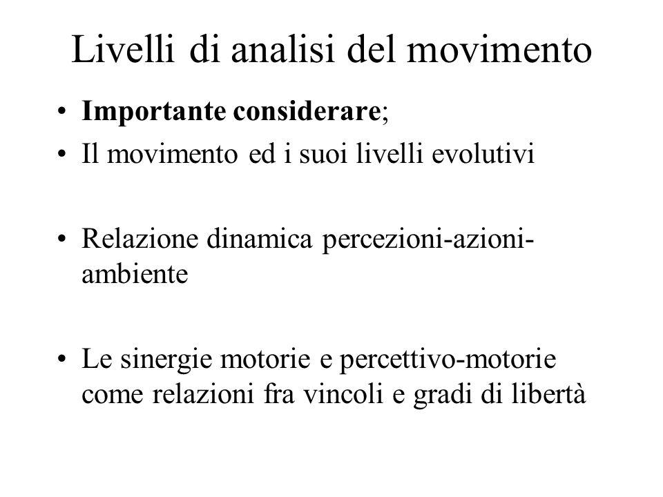 Livelli di analisi del movimento Importante considerare; Il movimento ed i suoi livelli evolutivi Relazione dinamica percezioni-azioni- ambiente Le sinergie motorie e percettivo-motorie come relazioni fra vincoli e gradi di libertà