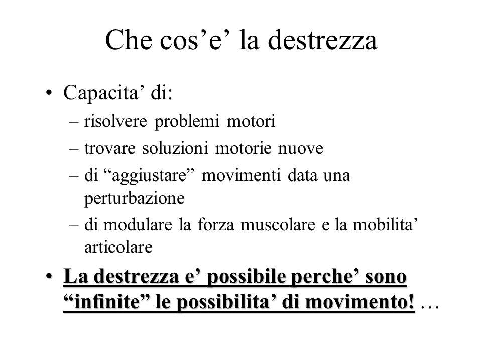 Che cos'e' la destrezza Capacita' di: –risolvere problemi motori –trovare soluzioni motorie nuove –di aggiustare movimenti data una perturbazione –di modulare la forza muscolare e la mobilita' articolare La destrezza e' possibile perche' sono infinite le possibilita' di movimento!La destrezza e' possibile perche' sono infinite le possibilita' di movimento.
