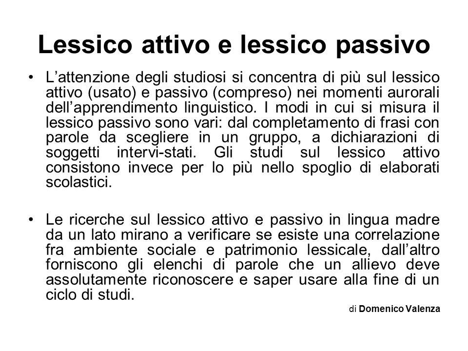 Lessico attivo e lessico passivo L'attenzione degli studiosi si concentra di più sul lessico attivo (usato) e passivo (compreso) nei momenti aurorali dell'apprendimento linguistico.