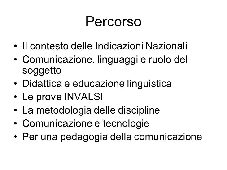 Percorso Il contesto delle Indicazioni Nazionali Comunicazione, linguaggi e ruolo del soggetto Didattica e educazione linguistica Le prove INVALSI La