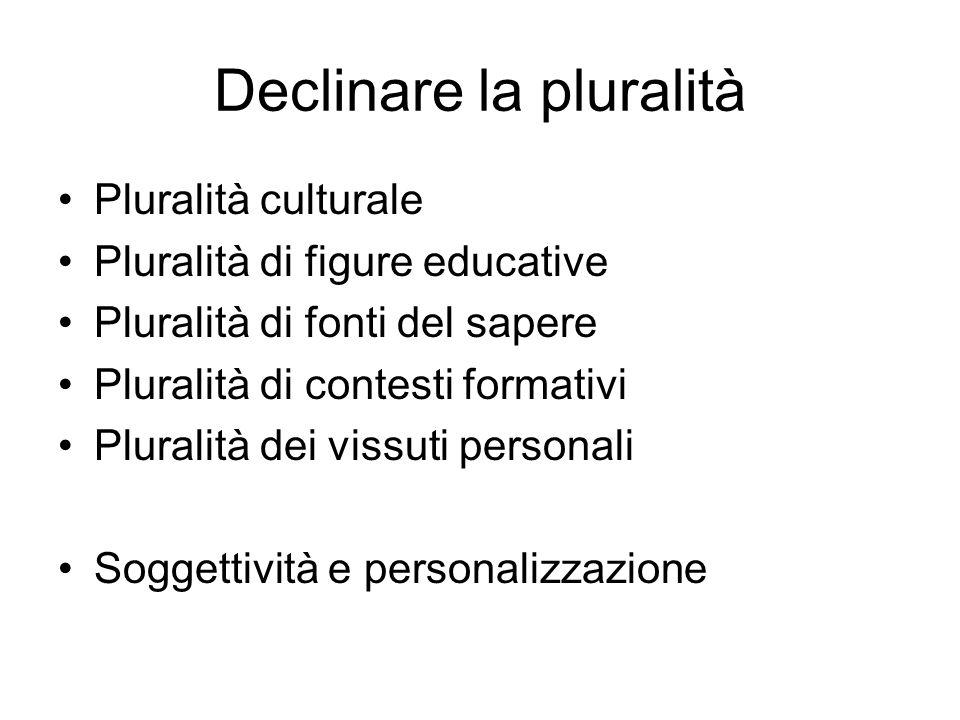 Declinare la pluralità Pluralità culturale Pluralità di figure educative Pluralità di fonti del sapere Pluralità di contesti formativi Pluralità dei vissuti personali Soggettività e personalizzazione