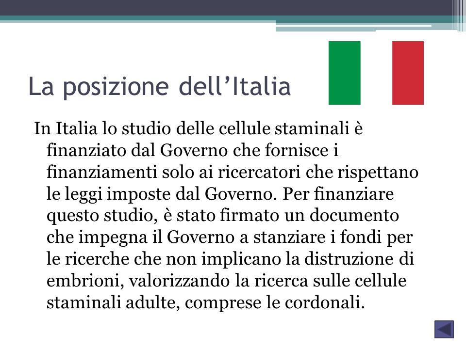 La posizione dell'Italia In Italia lo studio delle cellule staminali è finanziato dal Governo che fornisce i finanziamenti solo ai ricercatori che rispettano le leggi imposte dal Governo.